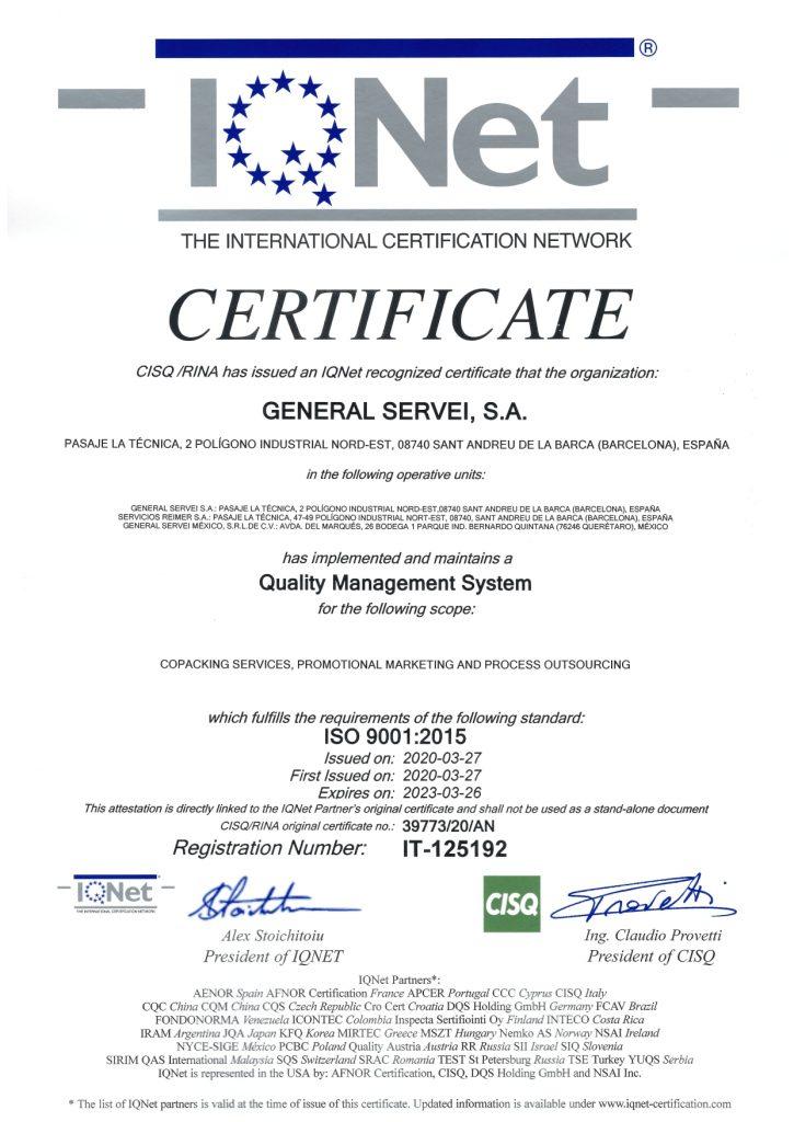 GENERAL-SERVEI-9001-CERTIFICADO-IQNET
